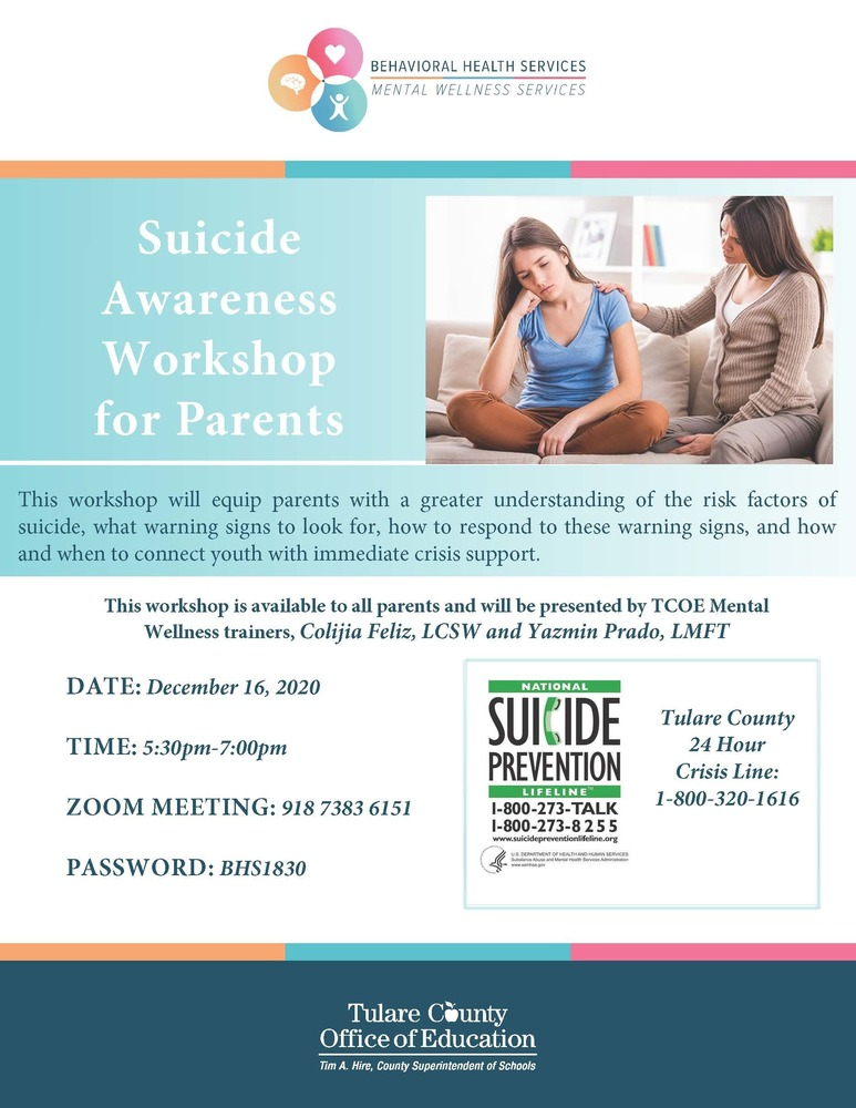 Suicide Awareness for Parents